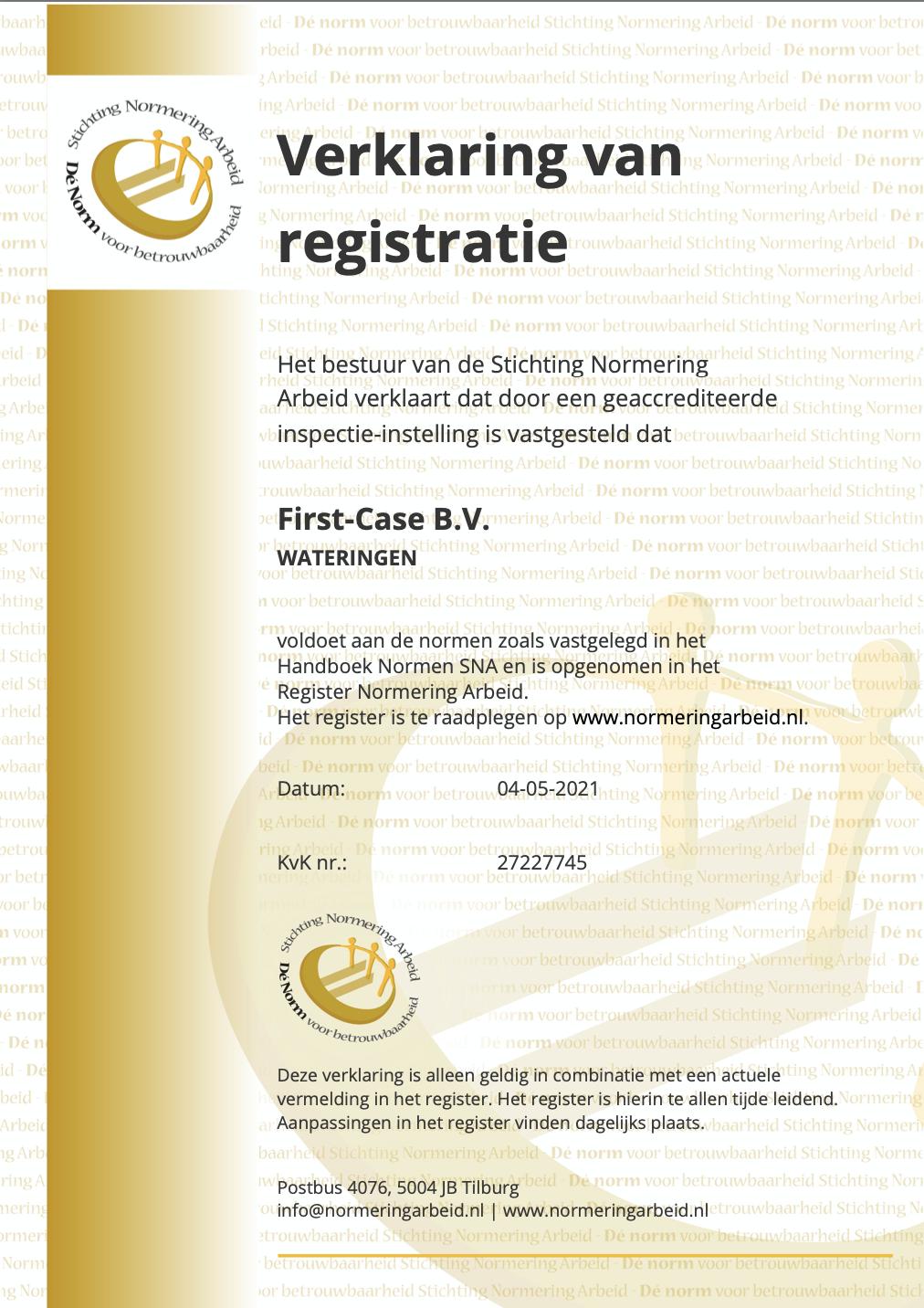 FC Verklaring van registratie NEN4400-1 2021-05-04